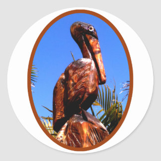 Pelican Wooden o Brown The MUSEUM Zazzle Gifts Round Stickers