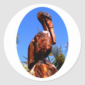 Pelican Wooden o White The MUSEUM Zazzle Gifts Sticker