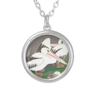 Pelicans by Yamamura Toyonari Round Pendant Necklace