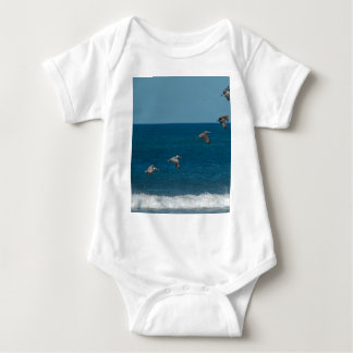 Pelicans flying in formation, Costa Rica Baby Bodysuit