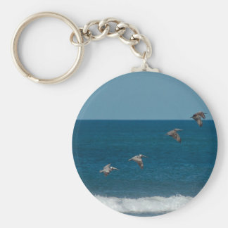 Pelicans flying in formation Costa Rica Key Chains