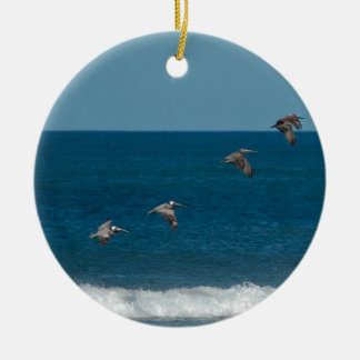Pelicans flying in formation, Costa Rica Round Ceramic Decoration