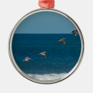 Pelicans flying in formation, Costa Rica Silver-Colored Round Decoration