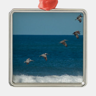 Pelicans flying in formation, Costa Rica Silver-Colored Square Decoration