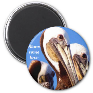 Pelicans Love_  Magnet_by Elenne 6 Cm Round Magnet