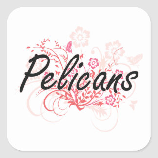 Pelicans with flowers background square sticker