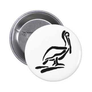 Pellican Bird Abstract Outline 6 Cm Round Badge
