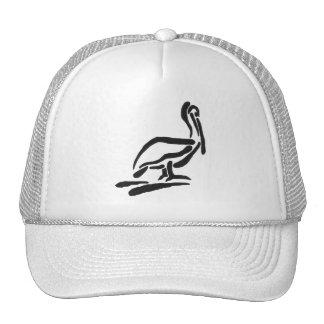 Pellican Bird Abstract Outline Mesh Hat