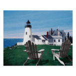 Pemaquid Light and two Chairs Giclee Print/Poster Poster