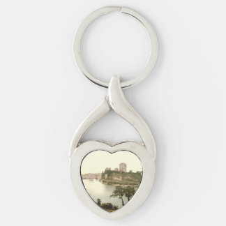 Pembroke Castle, Pembrokeshire, Wales Silver-Colored Twisted Heart Key Ring