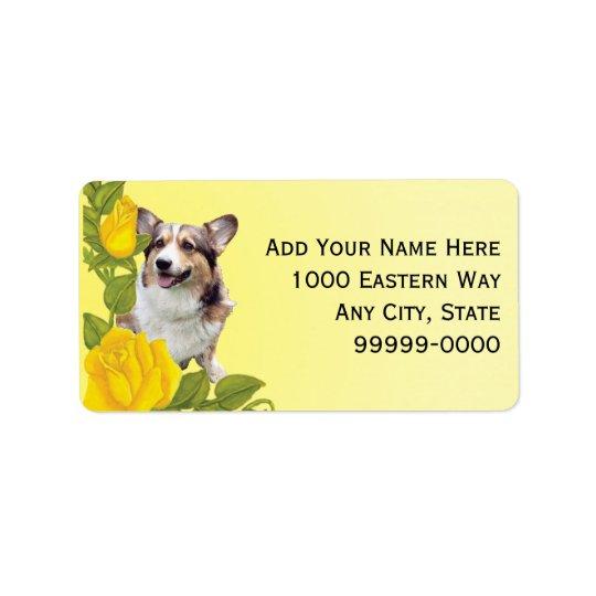 Pembroke Corgi and Yellow Roses Address Label
