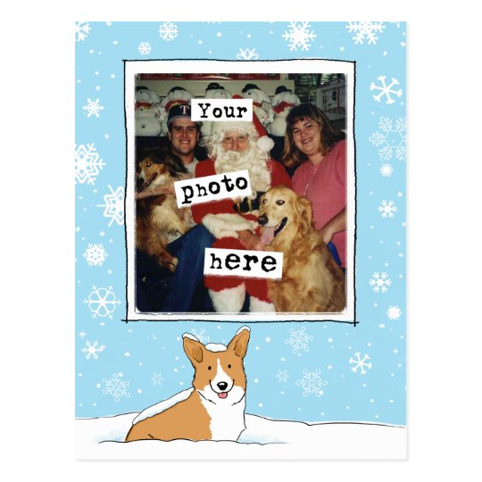 Pembroke Corgi in the Snow Holiday Photo Template Postcard