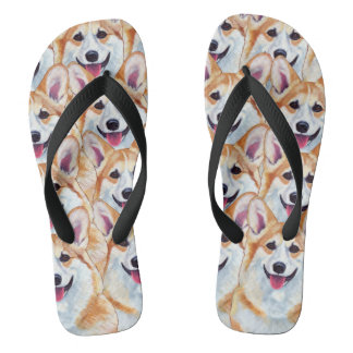 Pembroke Welsh Corgi Art Flip Flops Happy Go Lucky