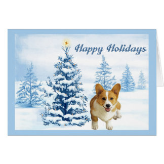 Pembroke Welsh Corgi Christmas Card Blue Tree