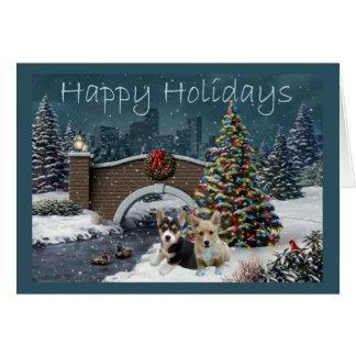 Pembroke Welsh Corgi Christmas Card Evening