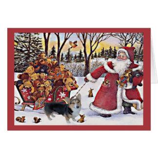 Pembroke Welsh Corgi Christmas Card Santa Bears
