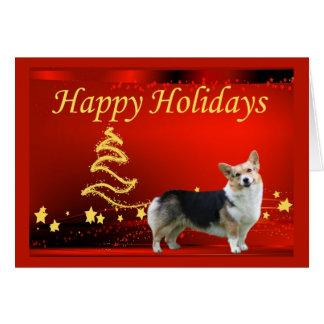 Pembroke Welsh Corgi Christmas Card Stars
