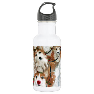 pembroke welsh Corgi Christmas Reindeer 532 Ml Water Bottle