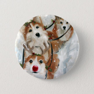 pembroke welsh Corgi Christmas Reindeer 6 Cm Round Badge