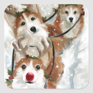pembroke welsh Corgi Christmas Reindeer Square Sticker