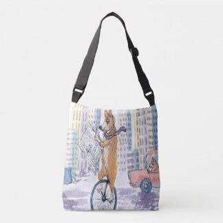 Pembroke Welsh corgi dog on a unicycle Crossbody Bag