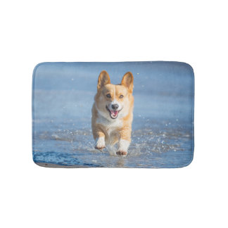 Pembroke Welsh Corgi Dog Running On The Beach Bath Mat