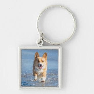 Pembroke Welsh Corgi Dog Running On The Beach Key Ring