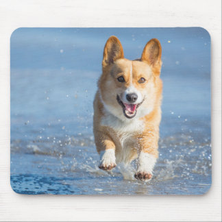 Pembroke Welsh Corgi Dog Running On The Beach Mouse Mat