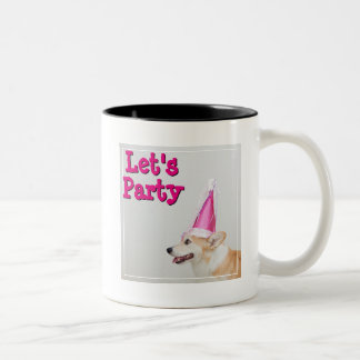 Pembroke Welsh Corgi Dog Wearing A Birthday Hat Two-Tone Coffee Mug