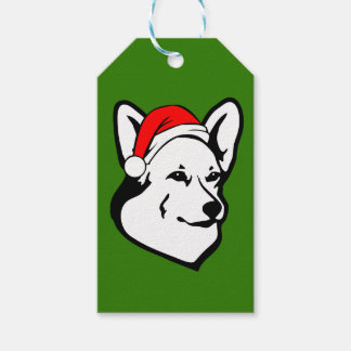 Pembroke welsh Corgi Dog with Christmas Santa Hat Gift Tags