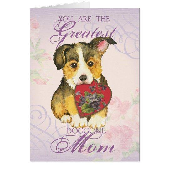 Pembroke Welsh Corgi Heart Mum Card