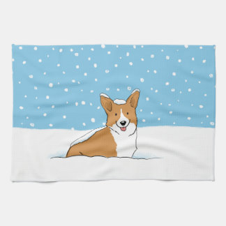 Pembroke Welsh Corgi - Holiday Snow Dog Tea Towel