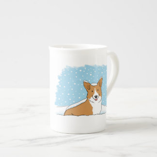 Pembroke Welsh Corgi in the Snow Tea Cup