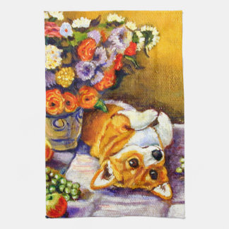 Pembroke Welsh Corgi Kitchen Towel Floral