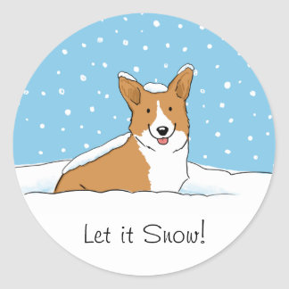 Pembroke Welsh Corgi Let it Snow - Fun Dog Holiday Classic Round Sticker