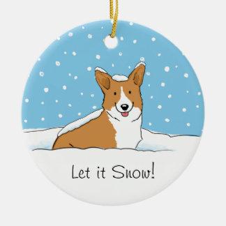Pembroke Welsh Corgi Let it Snow - Holiday Dog Round Ceramic Decoration