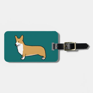 Pembroke Welsh Corgi on Teal (Color Customizable) Luggage Tag