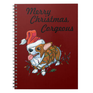 Pembroke Welsh Corgi Puppy Christmas Xmas Lights Notebook