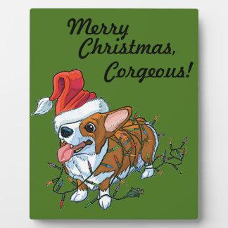Pembroke Welsh Corgi Puppy Christmas Xmas Lights Plaque