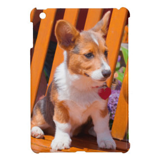Pembroke Welsh Corgi puppy sitting in park bench iPad Mini Covers