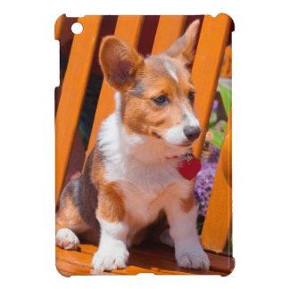 Pembroke Welsh Corgi puppy sitting in park bench iPad Mini Covers