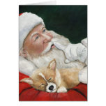 Pembroke Welsh Corgi & Santa Greeting Card