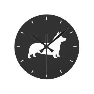 Pembroke Welsh Corgi Silhouette Round Clock