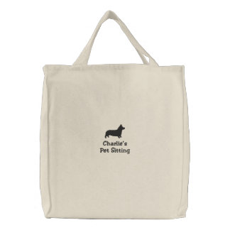 Pembroke Welsh Corgi Silhouette with Custom Text Embroidered Tote Bag