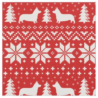 Pembroke Welsh Corgi Silhouettes Christmas Pattern Fabric