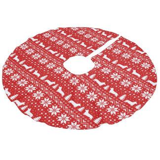 Pembroke Welsh Corgi Silhouettes Christmas Pattern Faux Linen Tree Skirt