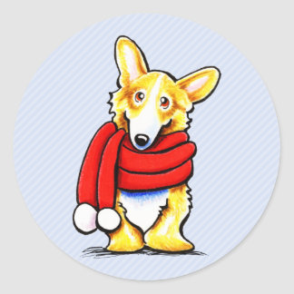 Pembroke Welsh Corgi Winter Scarf Classic Round Sticker