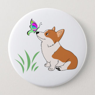 Pembroke Welsh Corgi with Butterfly 10 Cm Round Badge