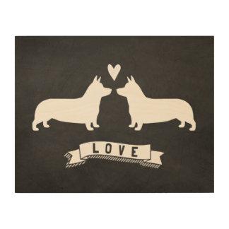 Pembroke Welsh Corgis Love Wood Canvas