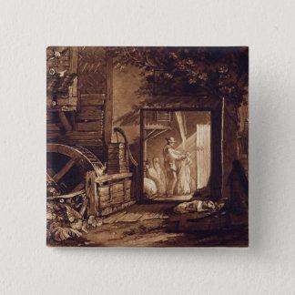 Pembury Mill, Kent, engraved by Charles Turner (17 15 Cm Square Badge